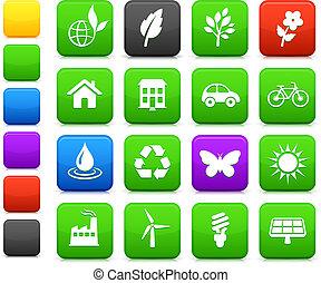 miljø, elementer, sæt, ikon
