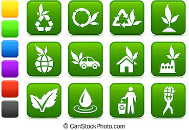 miljø, grønnere, samling, ikon