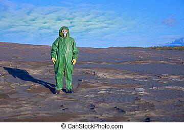 miljøbestemte, økologiske, videnskabsmand, katastrofe, zone