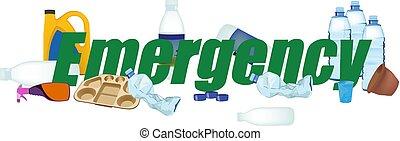 miljøbestemte, affald, nødsituation, plastik