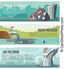 miljøbestemte, bannere, sæt, forurening