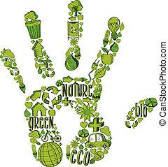 miljøbestemte, hånd, grønne, iconerne