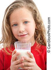 milk., νέος , ανακριτού αδιαπέραστος , κορίτσι , πόσιμο
