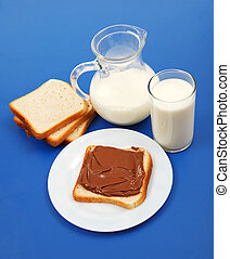 Milk and bread with chocolate