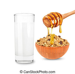 milk and cereal with honey