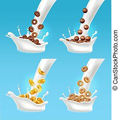 Milk and cereals splash Vector realistic. 3d detailed effects illustrations
