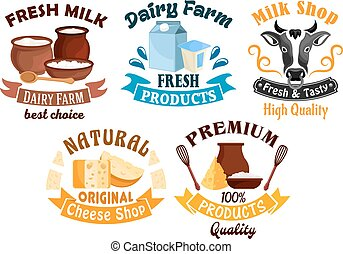 Milk and cheese shop, dairy farm cartoon badge set