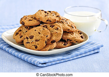 Milk and chocolate chip cookies - Plate of chocolate chip ...