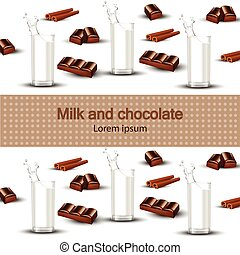 Milk and chocolate Vector realistic background. Splash milk in a glass sweet