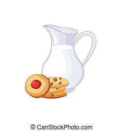 Milk And Cookies Breakfast Food Element Isolated Icon