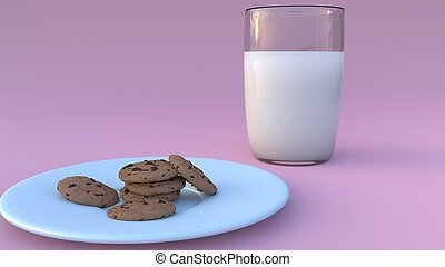 Milk and cookies on pink background