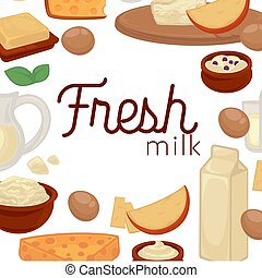 Milk and dairy farm food products vector cheese and yogurt drink
