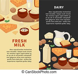 Milk and dairy farm fresh products vector poster