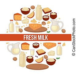 Milk and dairy farm products vector food