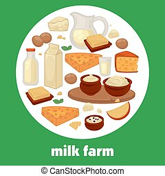 Milk and dairy farm products vector poster for market shop or store
