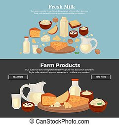 Milk and dairy farm products vector web banners