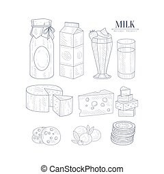 Milk And Dairy Products Isolated Icons Hand Drawn Realistic Sketch