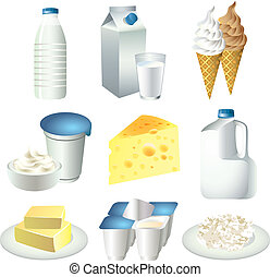 milk and dairy products photo realistic vector set
