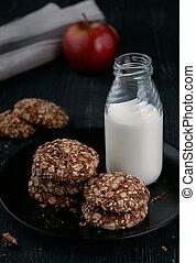 Milk and homemade whole grain cookies