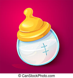 Milk baby bottle vector illlustration