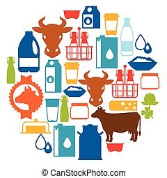 Milk background with dairy products and objects