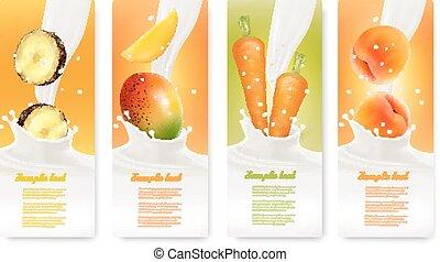 milk., banieren, set, vector., fruit