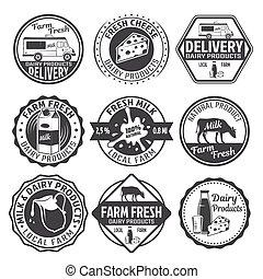 Milk Black White Emblems