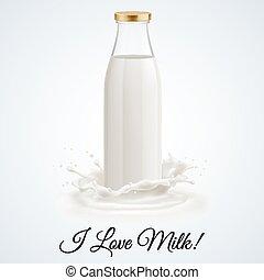 Milk bottle - Banner I love milk. Closed glass bottle of ...
