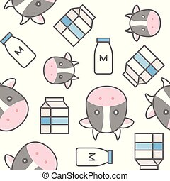 milk bottle, carton and cow, seamless pattern