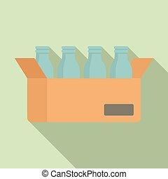 Milk bottle carton box icon, flat style
