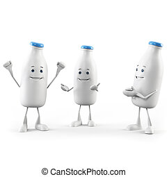 Milk bottle character - 3d rendered illustration of a milk...