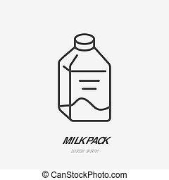 Milk bottle flat logo, kefir icon. Dairy product vector...
