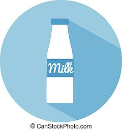 Milk bottle flat vector icon with long shadow