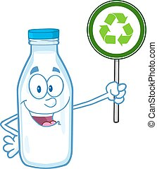 Milk Bottle Holding A Recycle Sign
