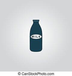 milk bottle icon - Milk bottle. Flat web icon or sign...