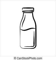 Milk Bottle Icon Vector Art Illustration