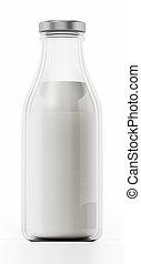 Milk bottle isolated on white background. 3D illustration