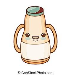 milk bottle kawaii style isolated icon