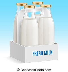 Milk bottle - Set closed glass bottles of milk in box on a...