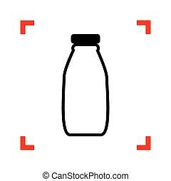 Milk bottle sign. Black icon in focus corners on white backgroun