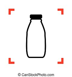 Milk bottle sign. Black icon in focus corners on white backgroun