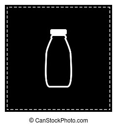Milk bottle sign. Black patch on white background. Isolated.
