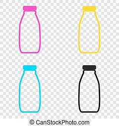Milk bottle sign. CMYK icons on transparent background. Cyan, ma