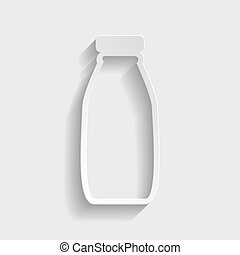 Milk bottle sign. Paper style icon