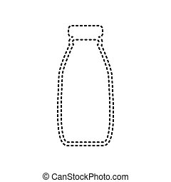 Milk bottle sign. Vector. Black dashed icon on white background. Isolated.