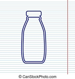 Milk bottle sign. Vector. Navy line icon on notebook paper as background with red line for field.