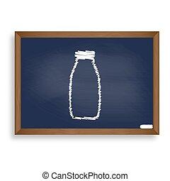 Milk bottle sign. White chalk icon on blue school board with sha