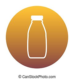 Milk bottle sign. White icon in circle with golden gradient as b