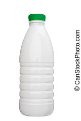 Milk bottle - White milk bottle with green cover isolated on...