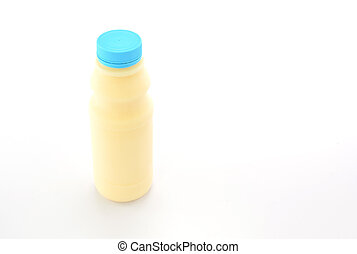 Milk Bottle with blue cap on White Background